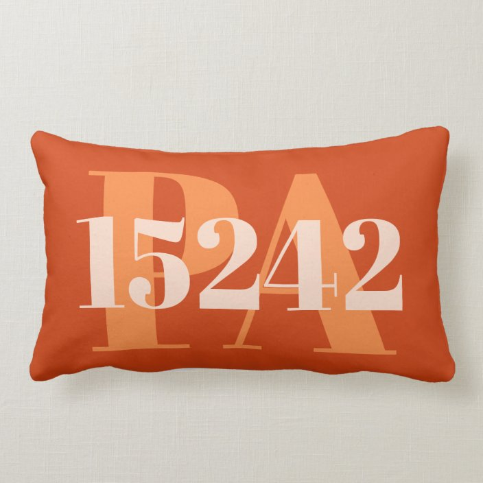burnt orange coral red personalized area code zip lumbar pillow zazzle com