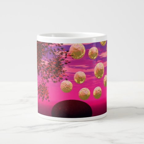 Burst of Joy – Abstract Magenta & Gold Inspiration Large Coffee Mug