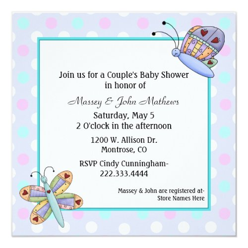 Butterflies Couple's Baby Shower Invitation