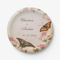 Butterflies & Vintage Almond Blossom Engagement Paper ...
