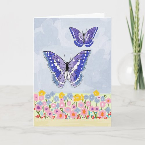Butterfly And Flowers Thinking of You Card