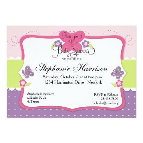 Butterfly Baby Shower in Purple Pink and Green Invitation