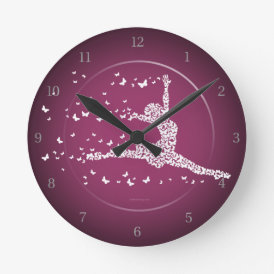 Butterfly Dancer Round Clock