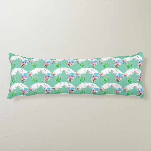 Butterfly floral pattern on teal cute girly body pillow