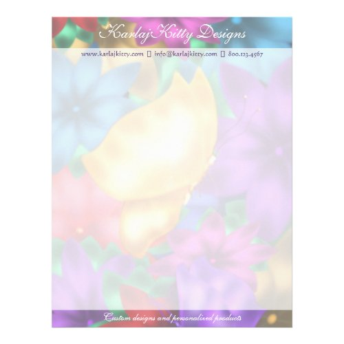 Butterfly in Paradise Floral Letterhead