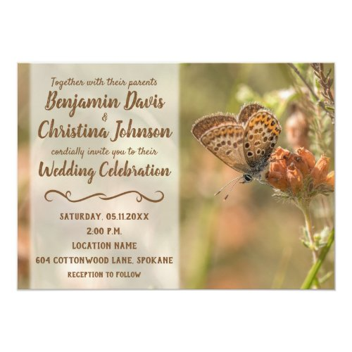 Butterfly on Flower Wedding Invitations