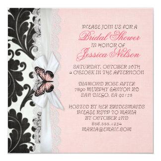 Butterfly Ribbon Black Damask Bridal Shower Invitation