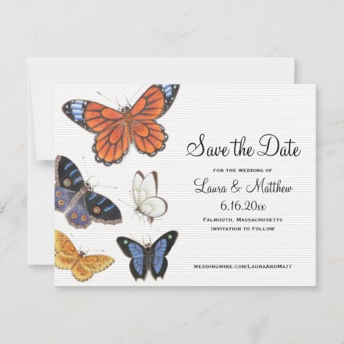 Butterfly Save The Date - Vintage Illustration