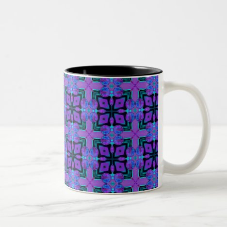 Butterfly Violet Purple Cross Nature Quilt Two-Tone Coffee Mug