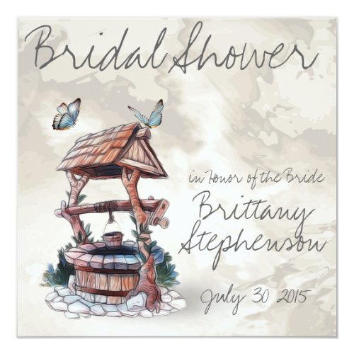 BUTTERFLY WISHING WELL WEDDING INVITATION