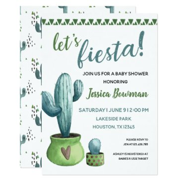 Cactus Fiesta Boy Baby Shower Invitation