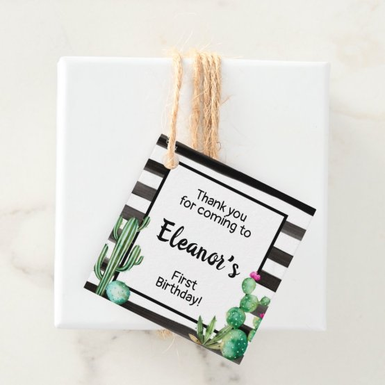 Cactus Fiesta Favour Favor Tag Birthday Party Boy