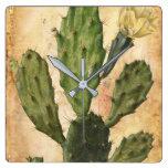cactus rustic vintage square wall clock