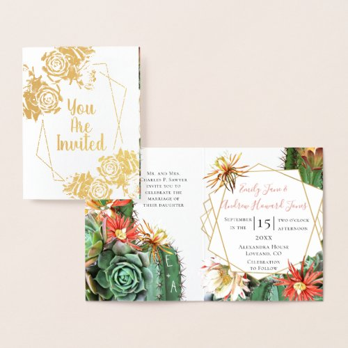 Cactus Succulent Coral Green Real Gold foil Foil Card