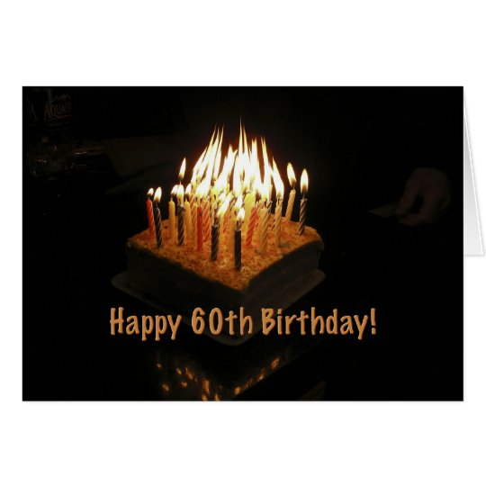 Cake 60 Birthday Candles Lit Fire Card