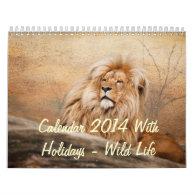 Calendar 2014 With Holidays - Wild Life