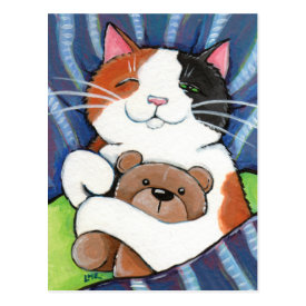 Calico Cat and Teddy Bear | Cat Art Postcard
