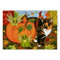 Calico Cat Fairy Cats Leaves Fall Autumn Art Card
