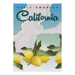 California Lemons Vintage travel print. Poster