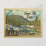 California Save The Date Mountains River Snow Announcement Postcard