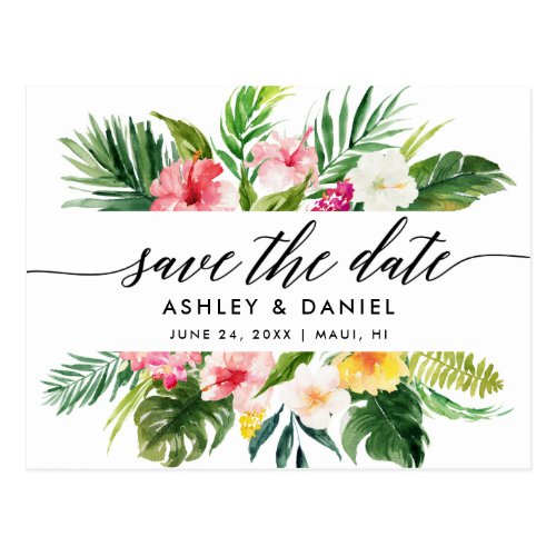 Calligraphy Tropical Floral Save The Date Postcard