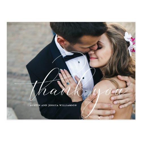 Calligraphy Wedding Thank You Post Card