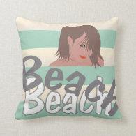 Calling for Beach Fun Throw Pillow