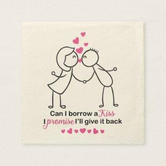 Can I Borrow a Kiss Cute Couple Design Paper Napkin