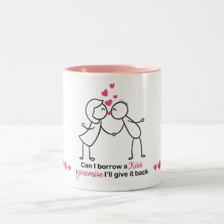 Can I Borrow a Kiss Cute Couple Design Two-Tone Coffee Mug