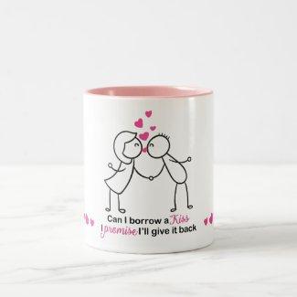 Can I Borrow a Kiss Cute Couple Design Two-Tone Coffee Mug