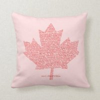 Canada Maple Leaf Words Pillow