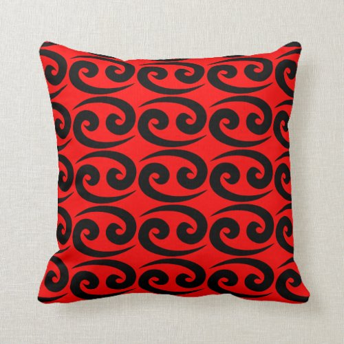 Cancer Red Black Repeating Pattern Throw Pillow