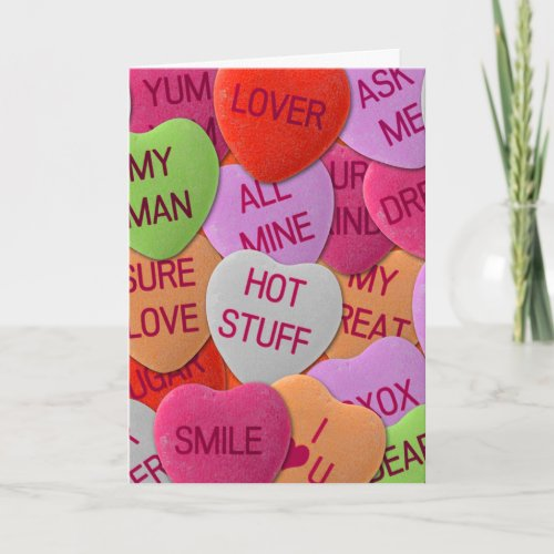 Candy Hearts With Sweet Sayings Holiday Card