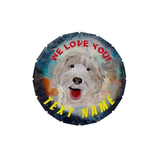 Candy Tin Case Cute Labradoodle Dog &Text