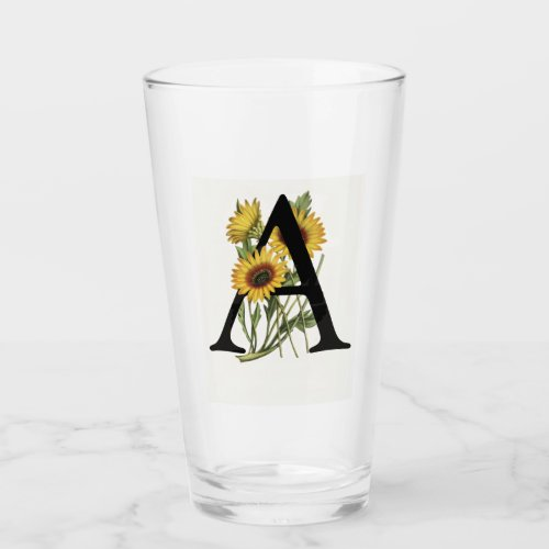 Cape Daisy Monogram A Drinking Glass
