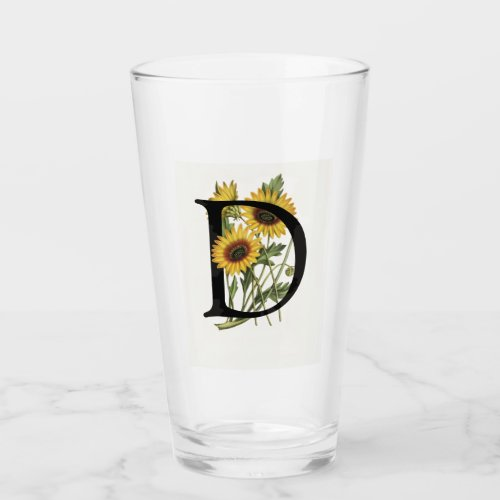Cape Daisy Monogram D Drinking Glass