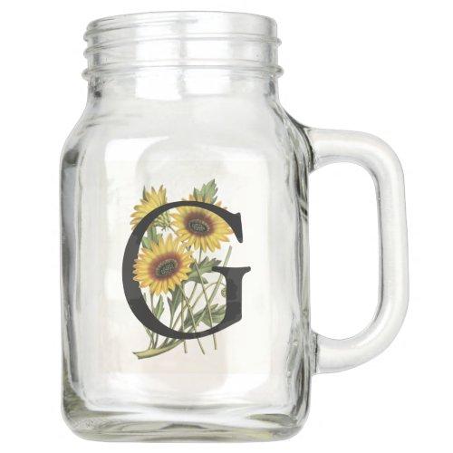 Cape Daisy Monogram G Mason Jar