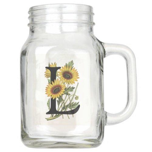 Cape Daisy Monogram L Mason Jar