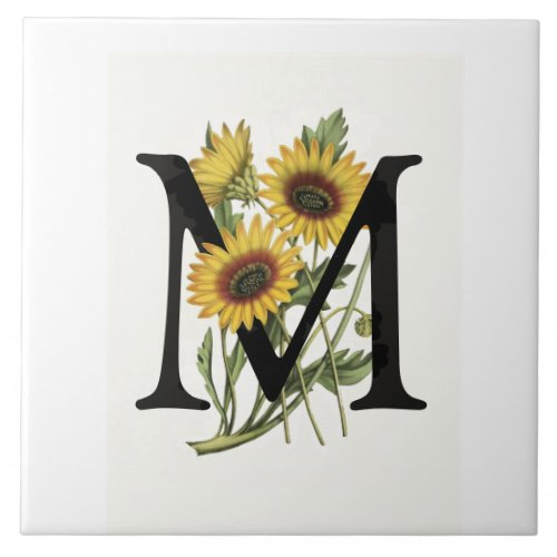 Cape Daisy Monogram M Ceramic Tile
