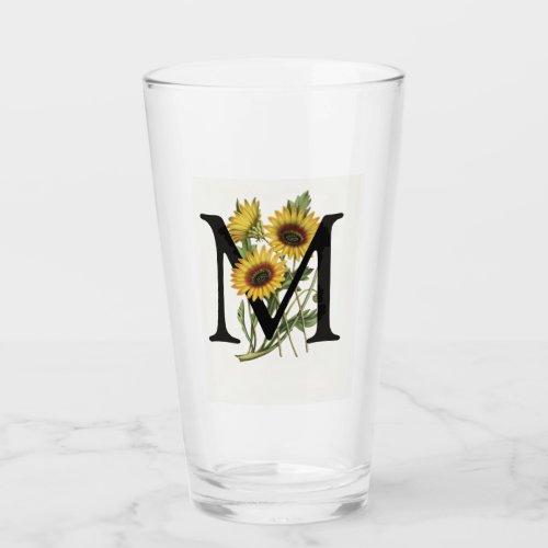 Cape Daisy Monogram M Drinking Glass