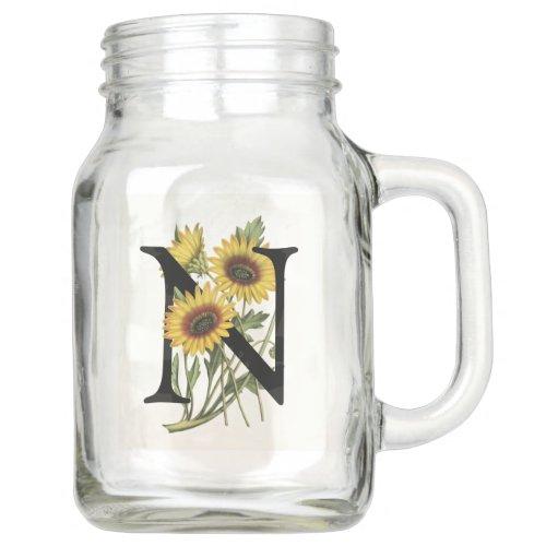 Cape Daisy Monogram N Mason Jar