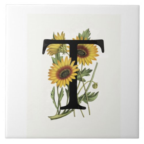 Cape Daisy Monogram T Ceramic Tile