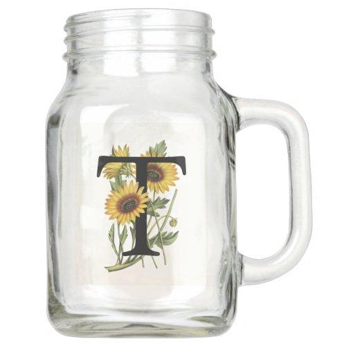 Cape Daisy Monogram T Mason Jar