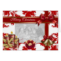 Card Merry Xmas Add Photo Red White Christmas