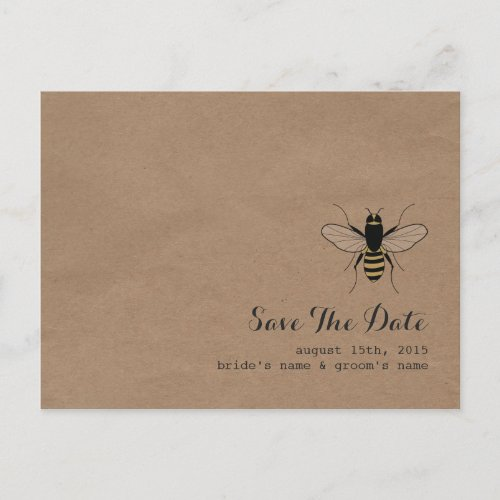 Cardboard Inspired Honey Bee Save The Date Announcement Postcard