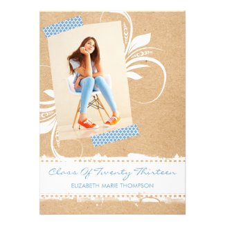 Cardboard Washi Tape Graduation Announcements
