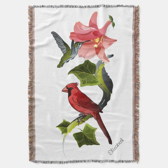 Cardinal And Hummingbird With Pink Lily And Ivy Throw Zazzle