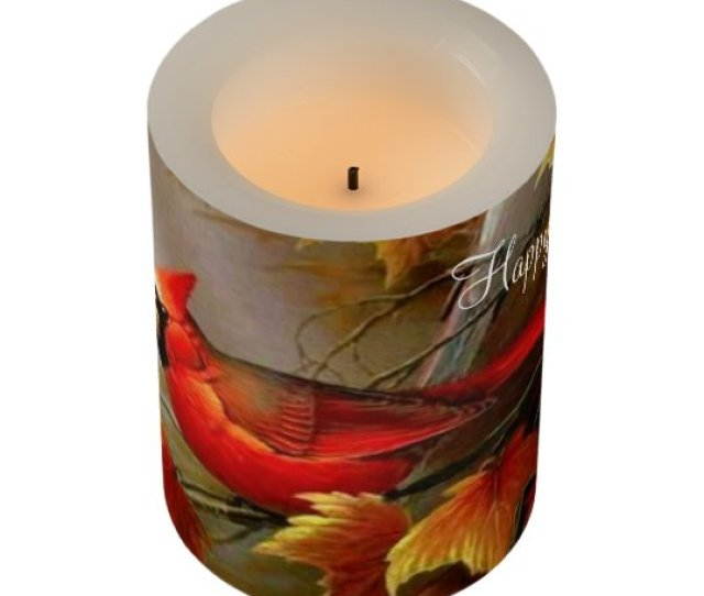 Cardinal Led Candle Happy Thanksgiving Flameless Candle
