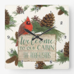 Cardinal Pine Cone Cabin Welcome Sign Personalized Square Wall Clock