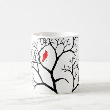 Cardinal Red Bird in Snowy Winter Tree Coffee Mug